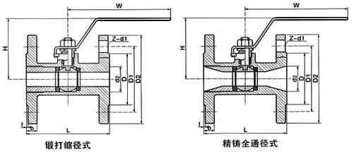 q11f法兰整体式球阀 结构图